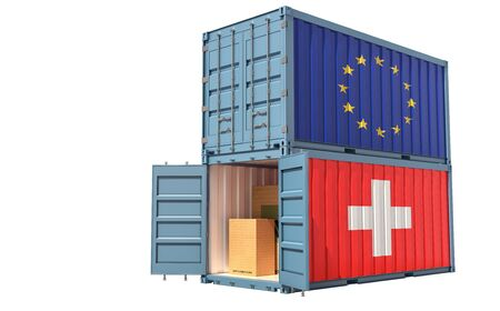 Two freight container with European Union and Swiss flag. Isolated on white - 3D Rendering Archivio Fotografico - 131830464