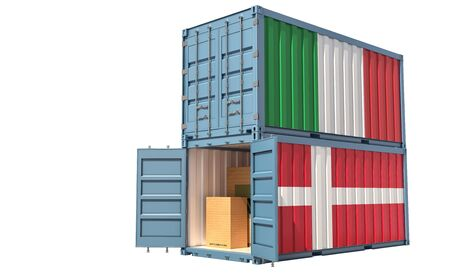 Two freight container with Italy and Denmark flag. Isolated on white - 3D Rendering Archivio Fotografico - 131830646