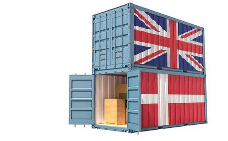 Two freight container with United Kingdom and Denmark flag. Isolated on white - 3D Rendering