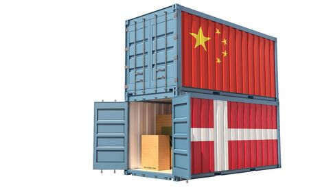 Two freight container with China and Denmark flag. Isolated on white - 3D Rendering Archivio Fotografico - 131830652