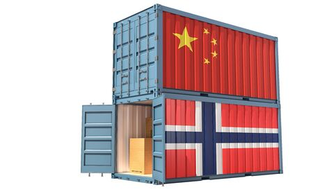 Two freight container with China and Norway flag. Isolated on white - 3D Rendering Фото со стока