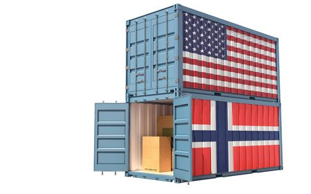 Two freight container with USA and Norway flag. Isolated on white - 3D Rendering Фото со стока