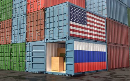 Stacks of Freight containers. USA and Russia flag. 3D Rendering