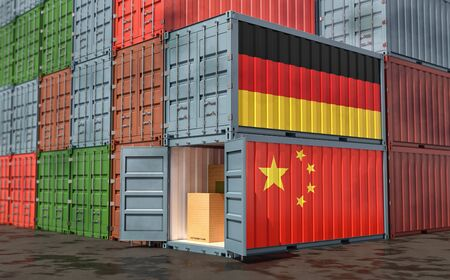 Stacks of Freight containers. German and China flag. 3D Rendering
