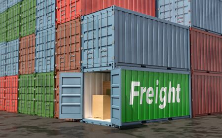Stacks of Freight containers. 3D Rendering