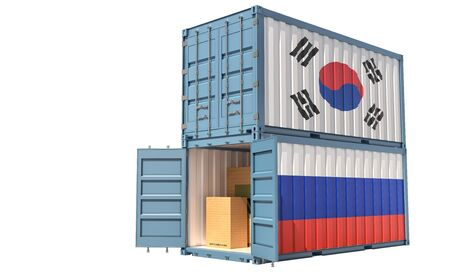 Two freight container with Russia and South Korea flag. Isolated on white - 3D Rendering
