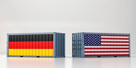 Two freight container with USA and Germany flag. 3D Rendering