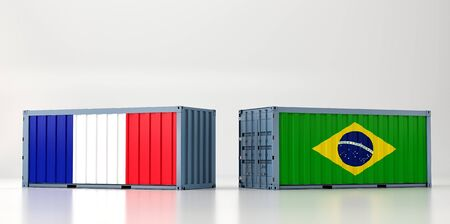 Two freight container with France and Brazil flag. 3D Rendering