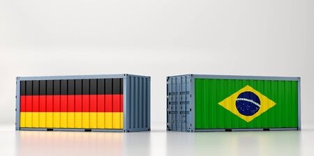 Two freight container with German and Brazil flag. 3D Rendering