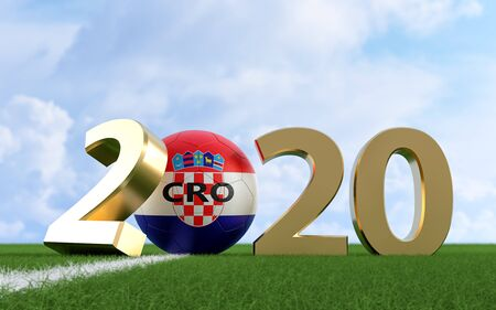 Soccer 2020 - Soccer ball in Croatia flag design on a soccer field. Soccer ball representing the 0 in 2020. 3D Rendering Фото со стока