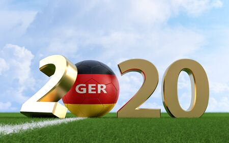 Soccer 2020 - Soccer ball in German flag design on a soccer field. Soccer ball representing the 0 in 2020. 3D Rendering