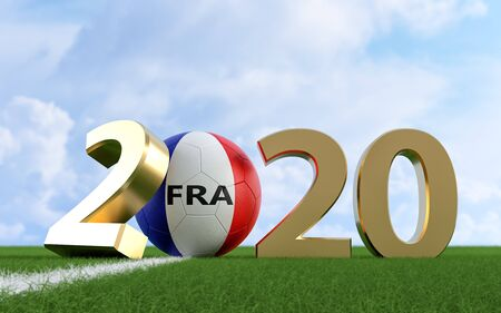 Soccer 2020 - Soccer ball in France flag design on a soccer field. Soccer ball representing the 0 in 2020. 3D Rendering Фото со стока