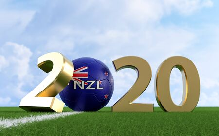 Soccer 2020 - Soccer ball in New Zealand flag design on a soccer field. Soccer ball representing the 0 in 2020. 3D Rendering Фото со стока