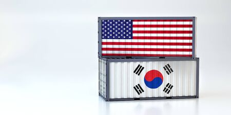 Two freight container with South Korea and USA flag. 3D Rendering