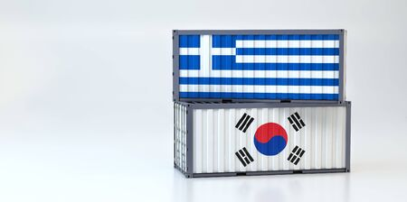 Two freight container with South Korea and Greece flag. 3D Rendering