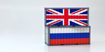 Two freight container with Great Britain and Russia flag. 3D Rendering