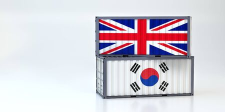 Two freight container with Great Britain and South Korea flag. 3D Rendering