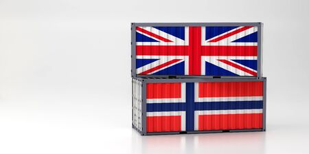 Two freight container with Great Britain and Norway flag. 3D Rendering