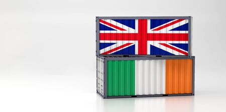 Two freight container with Great Britain and Ireland flag. 3D Rendering Фото со стока