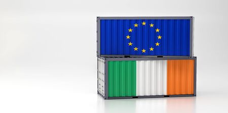 Two freight container with European Union and Ireland flag. 3D Rendering