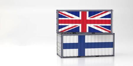 Two freight container with Great Britain and Finland flag. 3D Renderin