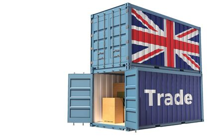 Freight container with United Kingdom flag. Isolated on white - 3D Rendering