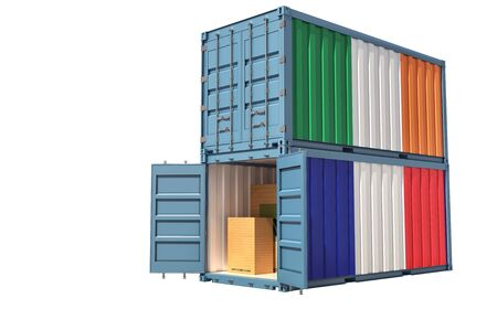 Two freight container with Ireland and France flag. Isolated on white - 3D Rendering Banque d'images