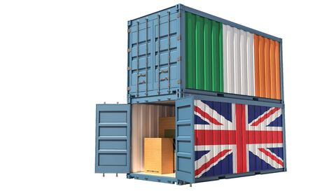 Two freight container with Ireland and United Kingdom flag. Isolated on white - 3D Rendering Banque d'images