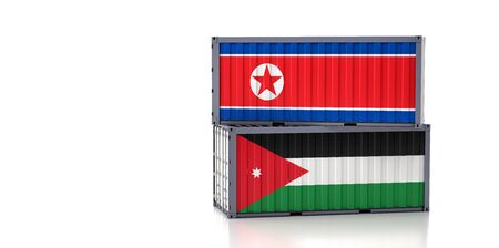 Freight container with Jordan and North Korea flag. 3D Rendering