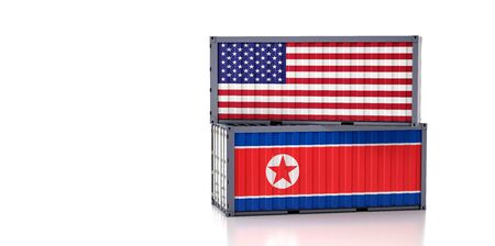 Freight container with USA and North Korea flag. 3D Rendering Foto de archivo