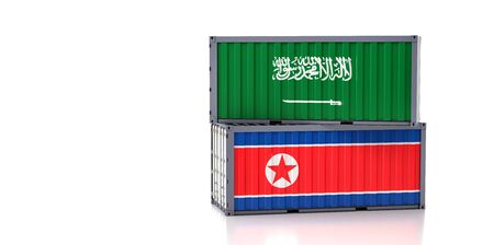 Freight container with Saudi Arabia and North Korea flag. 3D Rendering