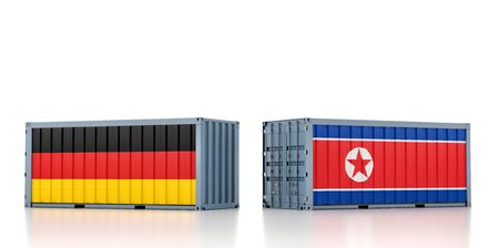 Freight container with North Korea and Germany flag. 3D Rendering Stock Photo