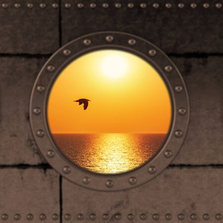 Looking through a ship Porthole on the the ocean. Stockfoto