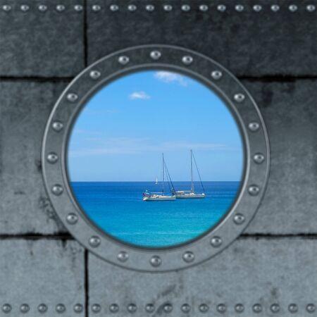 Blick durch ein Schiff Bullauge auf dem Ozean. Standard-Bild