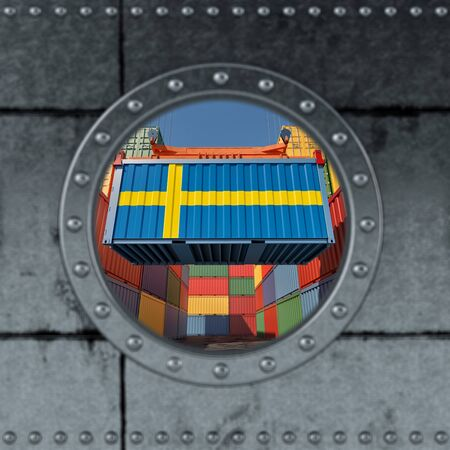 Looking through a ship porthole. Container with Sweden flag being loaded. 3D rendering
