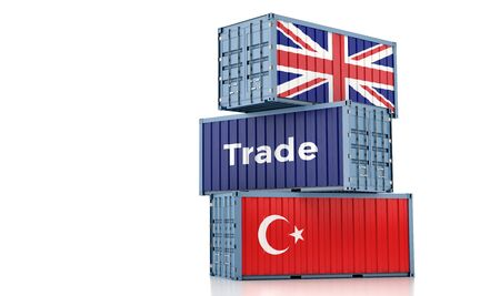 Freight container with United Kingdom and Turkey flag. 3D rendering
