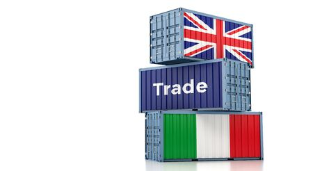 Freight container with United Kingdom and Italy flag. 3D rendering 写真素材