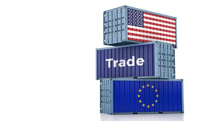Freight container with European Union and USA flag. 3D rendering 写真素材