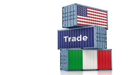 Freight container with Italy and USA flag. 3D rendering