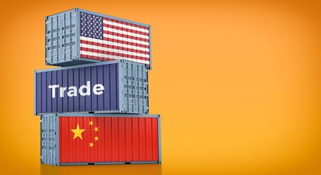 Freight container with China and USA flag. 3D rendering 写真素材