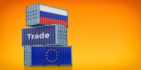 Freight container with Russia and European Union flag. 3D rendering 写真素材