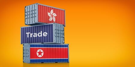 Freight container with Hong Kong and North Korea flag. 3D rendering