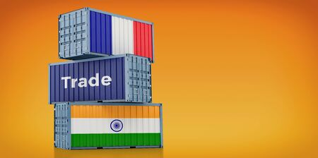 Freight container with France and India flag. 3D rendering 写真素材