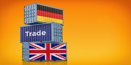 Freight container with United Kingdom and Germany flag. 3D rendering 写真素材