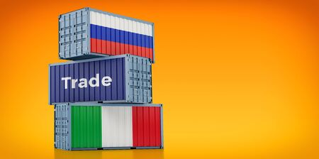 Freight container with Russia and Italy flag. 3D rendering 写真素材