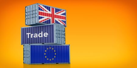 Freight container with United Kingdom and European Union flag. 3D rendering