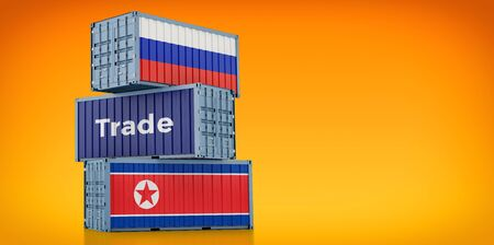 Freight container with Russia and North Korea flag. 3D rendering