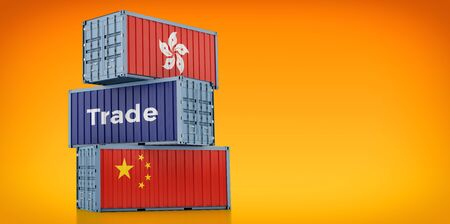 Freight container with Hong Kong and China flag. 3D rendering 写真素材
