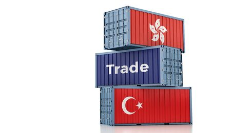 Freight container with Hong Kong and Turkey flag. 3D rendering