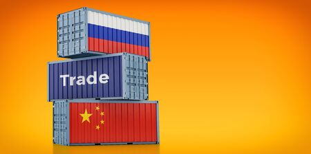 Freight container with Russia and China flag. 3D rendering 写真素材